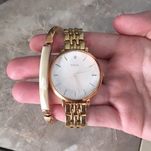 Fossil watch and bracelet set
